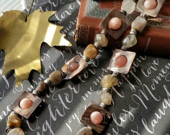 Stone and Shell Pink and Mocha Choker Necklace