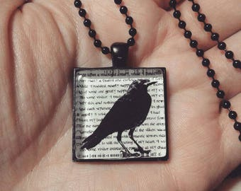 Edgar Allan Poe - The Raven Necklace - Black Pendant Setting and Ball Chain - 25mm Square Glass Cabochon
