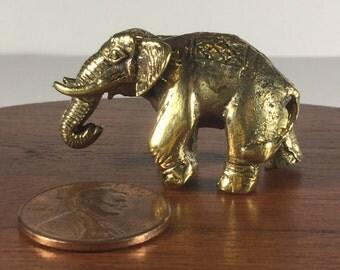 Miniature Figurine Brass Elephant Animal Metalwork Art #1