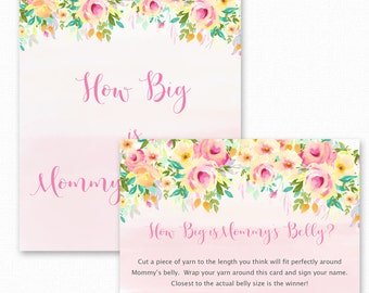Baby Shower Games, How Big is Mommy's Belly Game,  Floral Baby Shower, Printable Shower Games, Guess how big mommys belly, Peaches and Cream