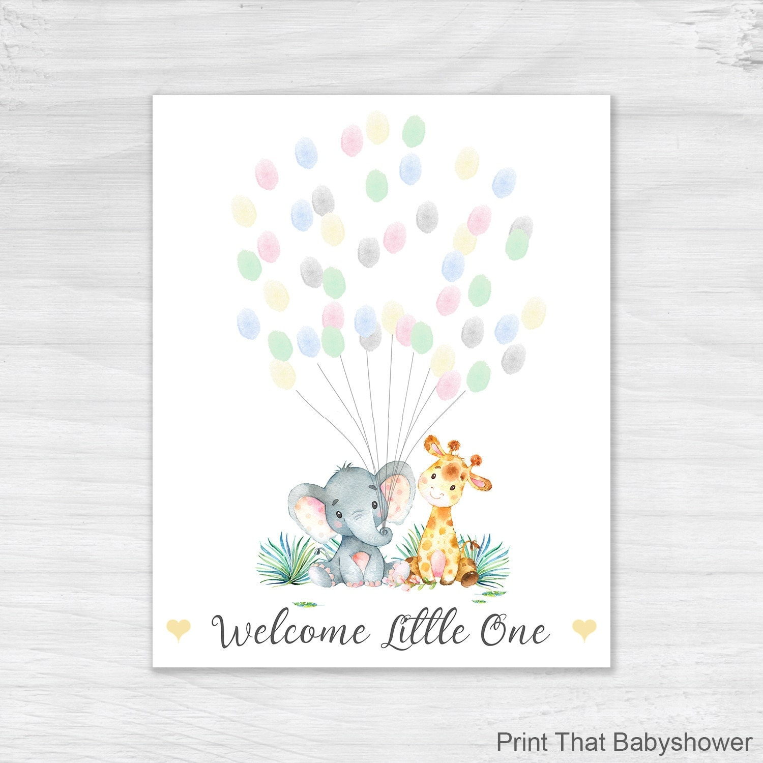 shower fingerprint guest book elephant baby shower alternative