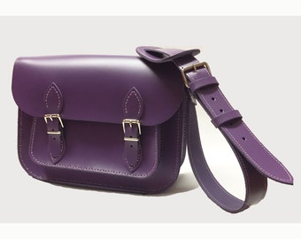 Leather satchel Purple Satchel Handmade Satchel