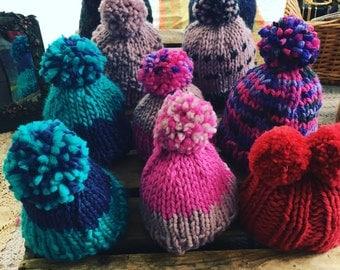 Childrens Hand knitted Merino wool Bobble hats