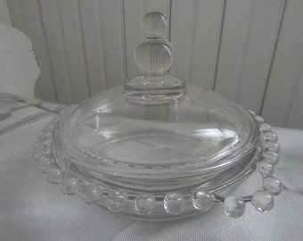 Candlewick Round Covered Butter Dish, Double Handled Sugar Bowl and Creamer - Imperial Glass Candlewick - Sugar Bowl, Creamer, Butter Dish