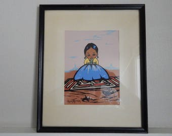 "Gerda Christoffersen ""Oodees"" Lithograph - Mid Century Litho of A Southwestern American Indian - Christoffersen ""Little People"" Lithograph"