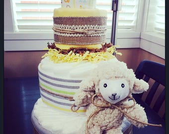 Neutral Vintage Themed Diaper Cake
