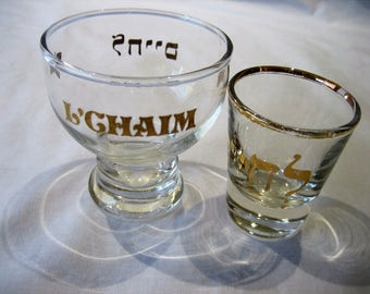 Vintage L' Chaim To Life Set of 2 Shot Glasses