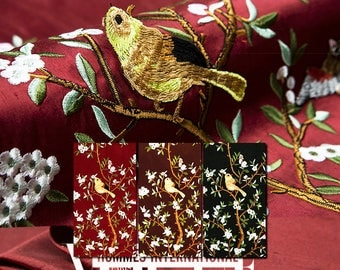 Solid Pure Silk fabric, embroidery bird, floral, leaf, branch pattern, dupion, shantung, sew for dress, craft by the yard