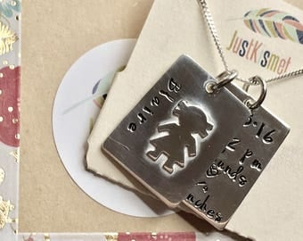 Personalized family charm necklace/ Sterling silver personalized name tag necklace/ Silhouette tag necklace