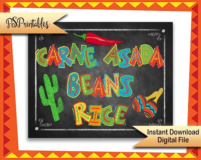 Printable Fiesta sign, Fiesta food sign, Carne asada Beans Rice, Fiesta Signage, wedding fiesta, fiesta wedding printable, fiesta birthday