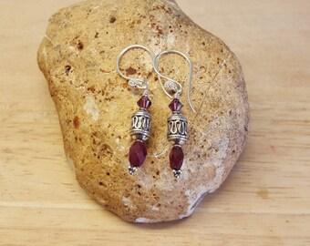 Sterling Silver Ruby earrings. July birthstone. Reiki jewelry uk. 40th anniversary gemstone. Red Wire wrapped earrings