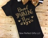 Baby Girl Onesie, Brand Sparkling New Onesie, New Baby, Baby Shower Gift, Welcome Baby Outfit, Newborn Take Home Outfit