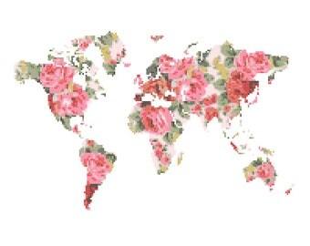 World Map Cross Stitch Pattern modern cross stitch pattern Floral cross stitch globe wall art gift Girl Boy Men and Women