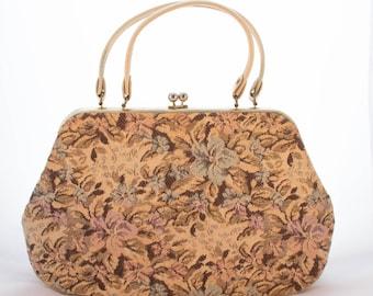 15% Off Code - Dover Floral Tapestry Handbag 1960s, Vintage 60s Purse, Cream Blue Tan White Blue Brown Pink 1950s