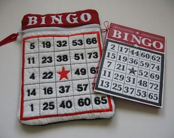 Embroidered Bingo Zipper Bag and Coordinating Gift Card