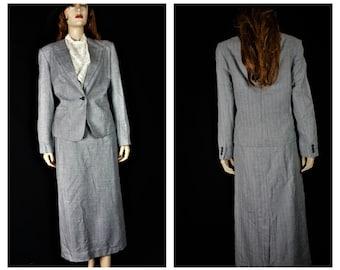 40s Pin Up Gaberdine Wool Suit / Vng Grey Gaberdine Pin-striped Suit / Vintage Pendleton 2 pc Designer Winter Skirt/ Pendleton Jacket SZ 10?