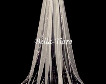 "FREE MATCHING BLUSHER, Custom order 70"" scattered crystal cathedral veil, crystal bridal veil, crystal wedding veil with blusher"