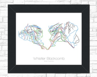 Whistler Blackcomb Map British Columbia Canada CA BC Ski Snowboard Trail Art -- Poster, Picture -- Gift, Present -- Resort, Mountain, Snow