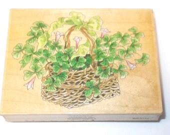 St. Patricks Day basket of shamrocks rubber stamp 80162 stamps happen wood mounted baskets cardmaking papercrafting stamping Irish Heritage
