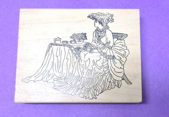 Stamps Happen Victorian Lady Rubber Stamp Wood Mounted
