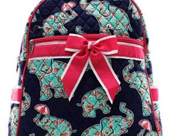 Quilted Teepee and elephant Backpack with free monogram