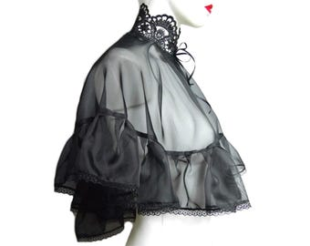 Black cape,bolero gothic, vampire, burlesque,vintage, victorian, black wedding