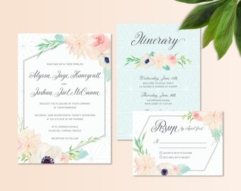 Geometric and Pastel Floral Watercolor Wedding Invitation Set