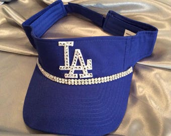Dodger's, LA, LA Dodgers Visor, Bling Visor, Blue Visor,  Sun Visor, Womens Visor, Sworovski Crystal Visor