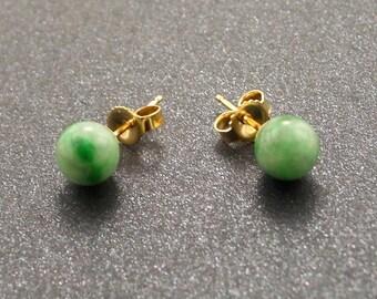 Green Jade 14KT GOLD Stud Post Earrings