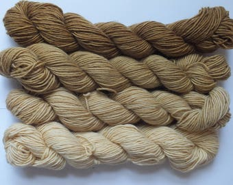 set of mini merino single skeins, dyed with natural material, oak