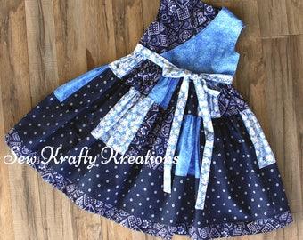 Girl's Dress - Blue Bandana Patchwork