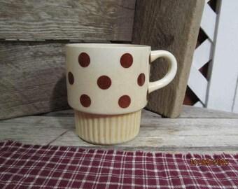 Vintage Tan with Brown Polka Dots Coffee Mug Cup USA Stoneware stackable mug