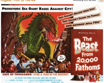 """50% Off Estate Sale Vintage Horror Science Fiction Movie Poster Print, 1953, The Beast from 20,000 Fathoms, PMSF 11"""" x 14"""""""