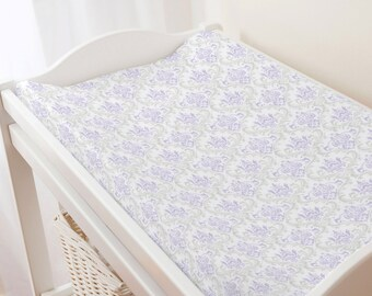 Carousel Designs Lilac and Silver Gray Damask Changing Pad Cover
