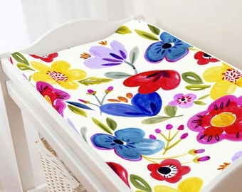 Carousel Designs Primary Painted Flowers Changing Pad Cover