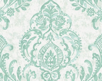 Mint Painted Damask Organic Fabric - By The Yard -  Girl / Boy / Neutral