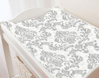 Carousel Designs Gray Painted Damask Changing Pad Cover