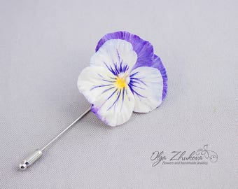 Brooch with a flower of pansies made of polymer clay. Flowers made of polymer clay. Pansies