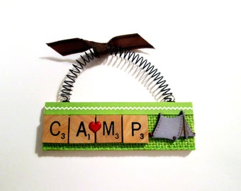Tent Camp Camping Scrabble Tile Ornaments