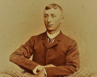 ON SALE Champaign Illinois IL 1800's Handsome Young Man Antique Cabinet Card Photograph Photo Old Vintage