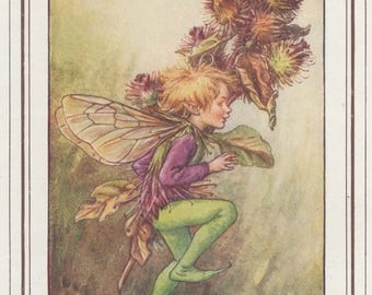 """Cicely Mary Barker c1930 """"The Burdock Fairy"""" Vintage Artwork Classic Book Print from Painting"""