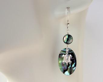Abalone Honu Charm Earrings, Paua Honu Earrings, Hawaiian Honu Earrings, Silver Honu Earrings, Honu Charm Earrings, Paua Shell Earrings