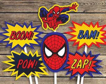 Spiderman Printables - Sign - Centerpiece photo prop - Super hero - Birthday Party - INSTANT Download PDF