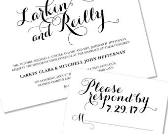 Modern and Bold Calligraphy Wedding Invitation | Script Wedding Invitation | DIY Option Available | Invitation | RSVP | Info Card #113