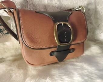 Handmade leather Purse- great medium size- Vintage buckle