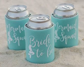 SALE!! Mermaid Can Cooler- Bridesmaid Can Cooler- Bridesmaid gift- Bridal Party Favors- Bachelorette gifts- Bride Tribe- Bridesmaids Gift