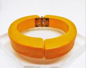 Bakelite Clamper Bracelet - Vintage, Butterscotch Bakelite Hinged Bracelet