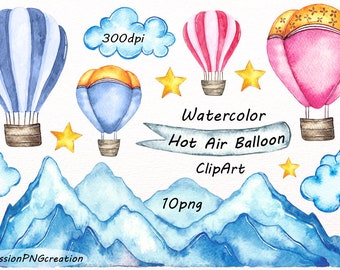 Watercolor Hot Air Balloon Clipart, PNG, Card making, Digital watercolor clip art, Mountain, For Personal and Commercial use