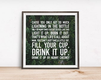 Drink it Up Quote by Kenny Chesney Printable Wall Art, Digital Art, Instant Download, Country Lyrics