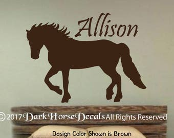 Personalized Trotting Horse wall decal - horse wall decal - equine